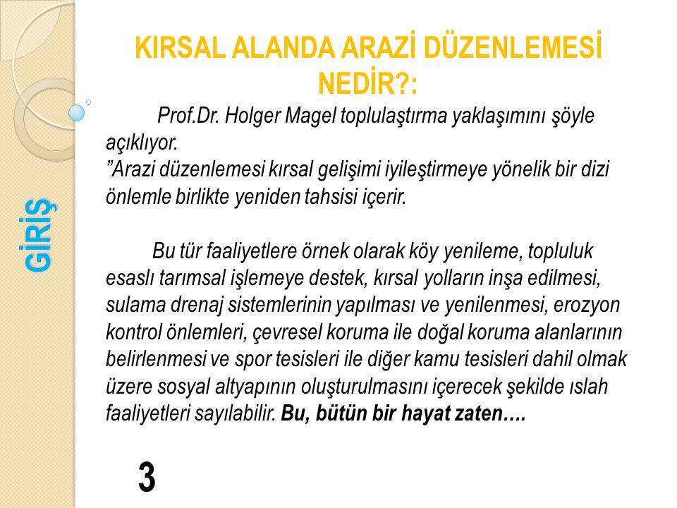 GİRİŞ 3 KIRSAL ALANDA ARAZİ DÜZENLEMESİ NEDİR?: Prof.Dr.