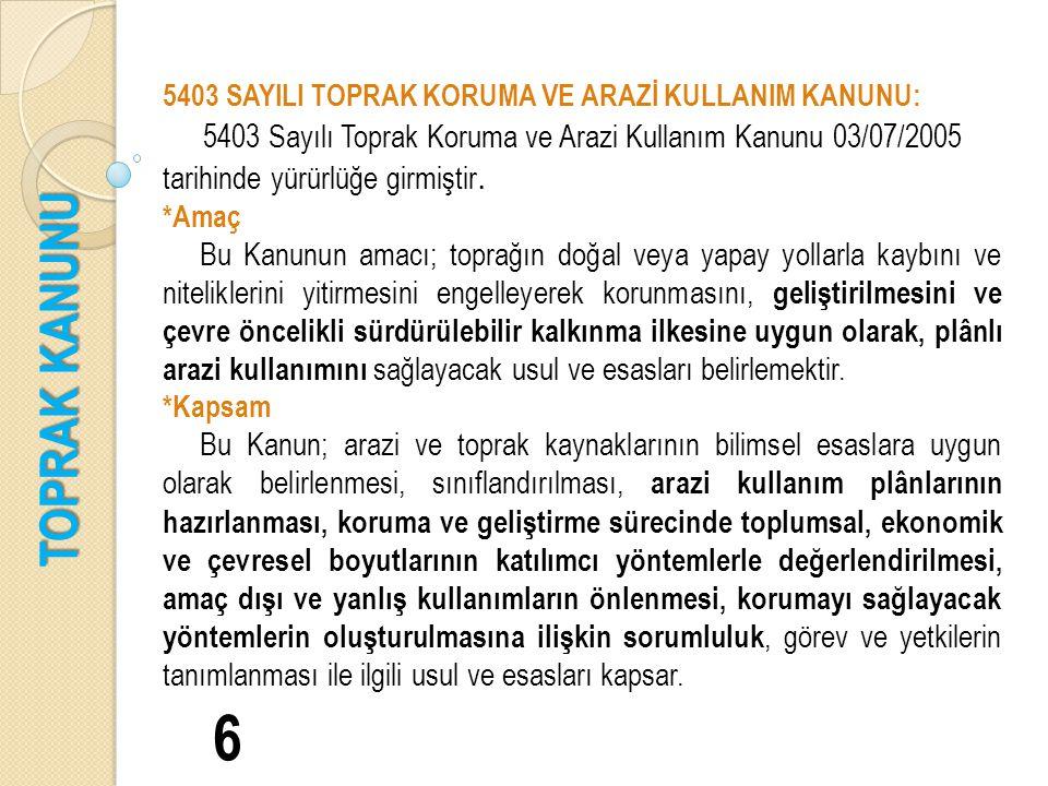 TOPRAK KANUNU 6 5403 SAYILI TOPRAK KORUMA VE ARAZİ KULLANIM KANUNU: 5403 Sayılı Toprak Koruma ve Arazi Kullanım Kanunu 03/07/2005 tarihinde yürürlüğe girmiştir.