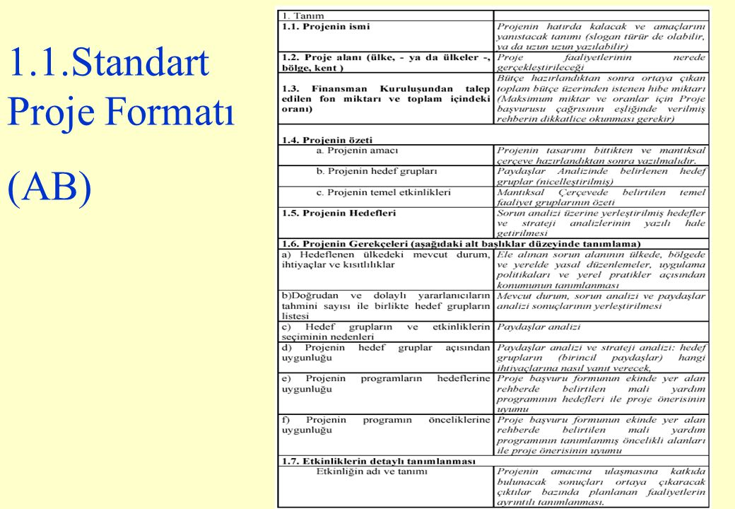 107 1.1.Standart Proje Formatı (AB)