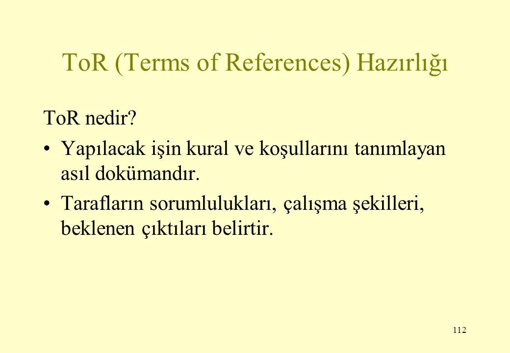 112 ToR (Terms of References) Hazırlığı ToR nedir? Yapılacak işin kural ve koşullarını tanımlayan asıl dokümandır. Tarafların sorumlulukları, çalışma