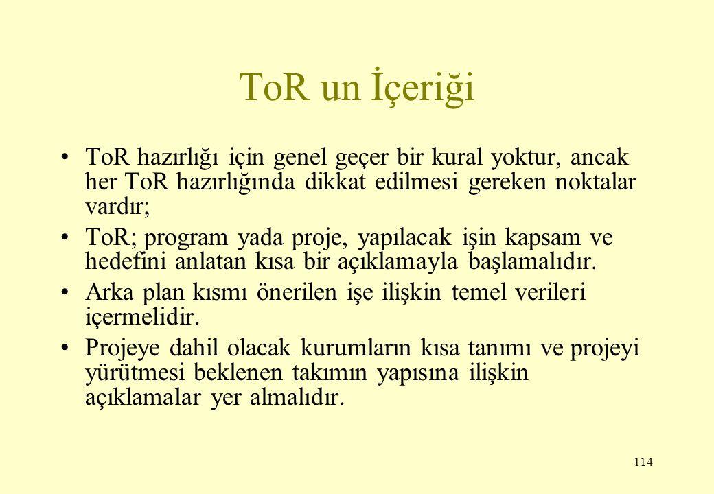 114 ToR un İçeriği ToR hazırlığı için genel geçer bir kural yoktur, ancak her ToR hazırlığında dikkat edilmesi gereken noktalar vardır; ToR; program y