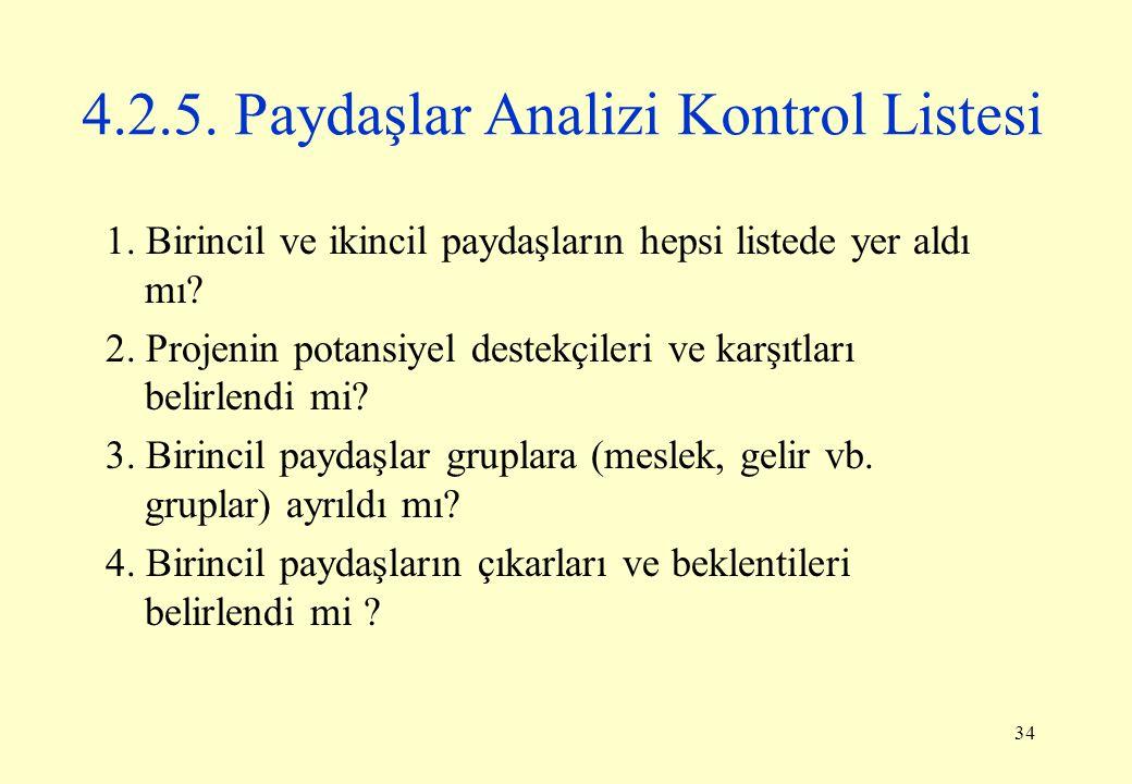 34 4.2.5. Paydaşlar Analizi Kontrol Listesi 1. Birincil ve ikincil paydaşların hepsi listede yer aldı mı? 2. Projenin potansiyel destekçileri ve karşı