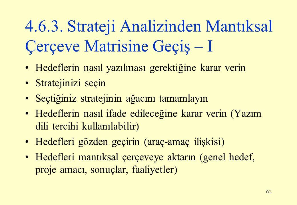 62 4.6.3. Strateji Analizinden Mantıksal Çerçeve Matrisine Geçiş – I Hedeflerin nasıl yazılması gerektiğine karar verin Stratejinizi seçin Seçtiğiniz
