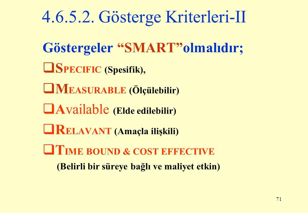 """71 Göstergeler """"SMART""""olmalıdır;  S PECIFIC (Spesifik),  M EASURABLE (Ölçülebilir)  Available (Elde edilebilir)  R ELAVANT (Amaçla ilişkili)  T I"""