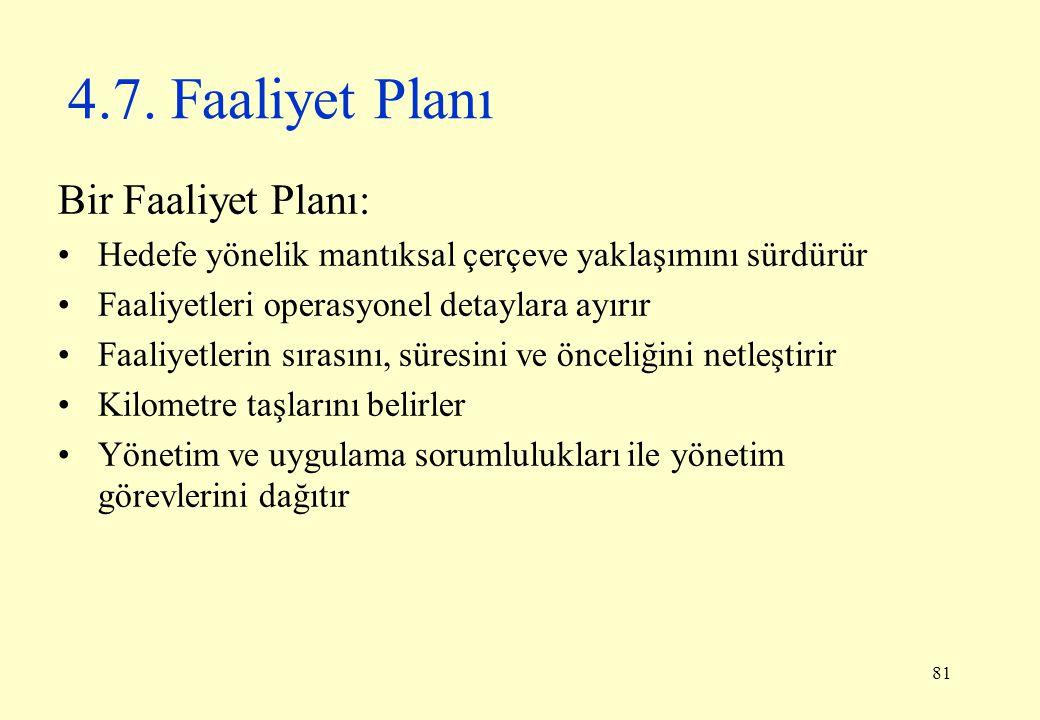 81 4.7. Faaliyet Planı Bir Faaliyet Planı: Hedefe yönelik mantıksal çerçeve yaklaşımını sürdürür Faaliyetleri operasyonel detaylara ayırır Faaliyetler