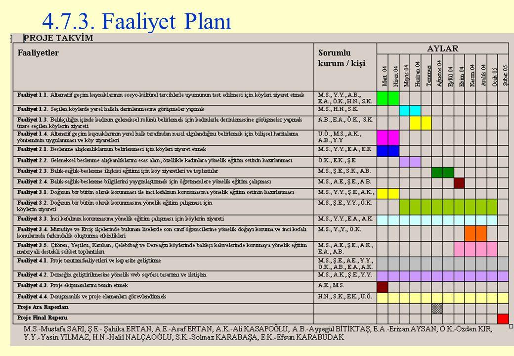 84 4.7.3. Faaliyet Planı