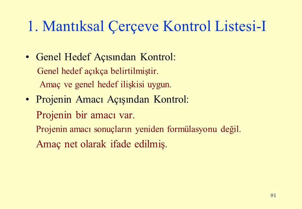 91 1. Mantıksal Çerçeve Kontrol Listesi-I Genel Hedef Açısından Kontrol: Genel hedef açıkça belirtilmiştir. Amaç ve genel hedef ilişkisi uygun. Projen