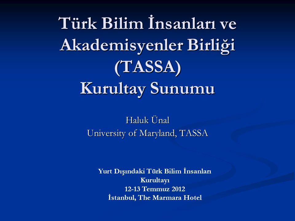 Türk Bilim İnsanları ve Akademisyenler Birliği (TASSA) Kurultay Sunumu Haluk Ünal University of Maryland, TASSA Yurt Dışındaki Türk Bilim İnsanları Ku
