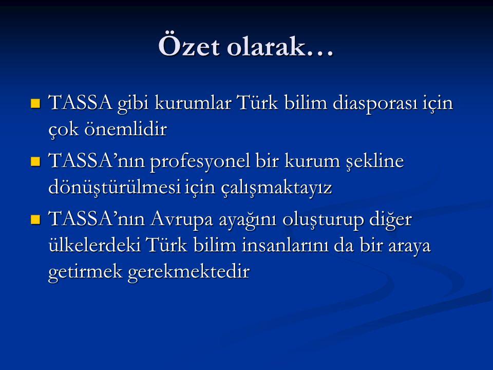 Özet olarak… TASSA gibi kurumlar Türk bilim diasporası için çok önemlidir TASSA gibi kurumlar Türk bilim diasporası için çok önemlidir TASSA'nın profe