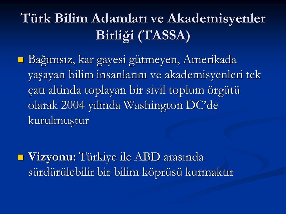 Türk Bilim Adamları ve Akademisyenler Birliği (TASSA) Bağımsız, kar gayesi gütmeyen, Amerikada yaşayan bilim insanlarını ve akademisyenleri tek çatı a