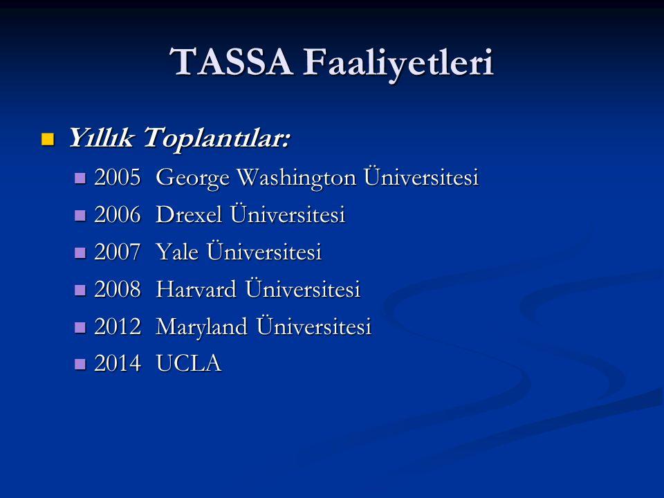 TASSA Faaliyetleri Yıllık Toplantılar: Yıllık Toplantılar: 2005 George Washington Üniversitesi 2005 George Washington Üniversitesi 2006 Drexel Ünivers