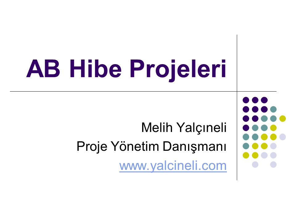 AB Hibe Projeleri Melih Yalçıneli Proje Yönetim Danışmanı www.yalcineli.com