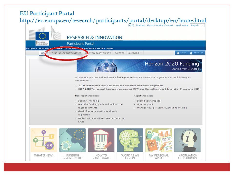 EU Participant Portal http://ec.europa.eu/research/participants/portal/desktop/en/home.html