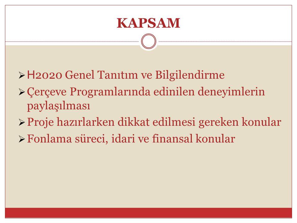 KAPSAM  H 2020 Genel Tanıtım ve Bilgilendirme  Çerçeve Programlarında edinilen deneyimlerin paylaşılması  Proje hazırlarken dikkat edilmesi gereken