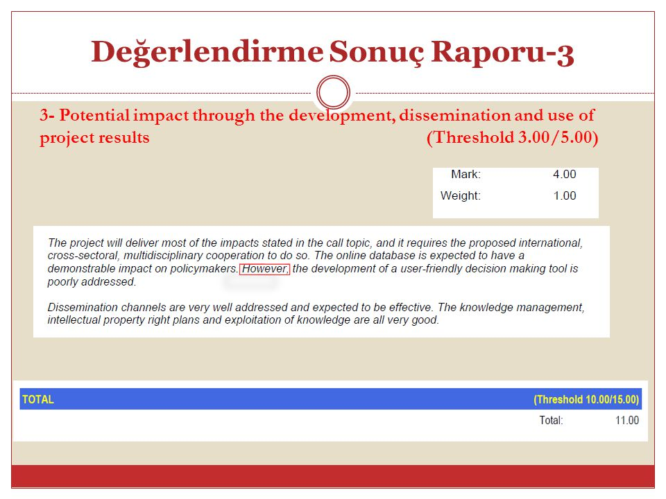 Değerlendirme Sonuç Raporu-3 3- Potential impact through the development, dissemination and use of project results (Threshold 3.00/5.00)
