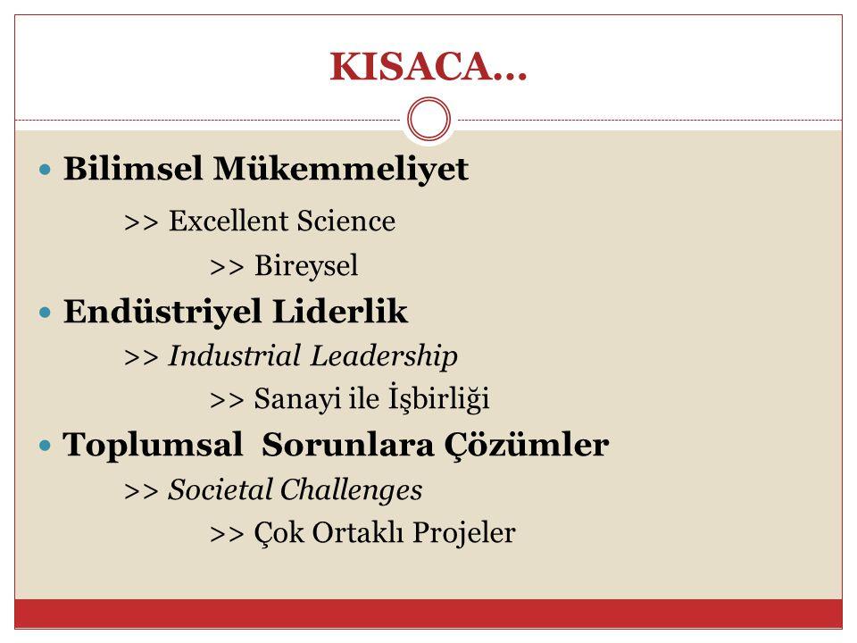 KISACA… Bilimsel Mükemmeliyet >> Excellent Science >> Bireysel Endüstriyel Liderlik >> Industrial Leadership >> Sanayi ile İşbirliği Toplumsal Sorunla