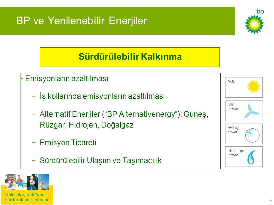 """2 BP ve Yenilenebilir Enerjiler Emisyonların azaltılması −İş kollarında emisyonların azaltılması −Alternatif Enerjiler (""""BP Alternativenergy""""): Güneş,"""