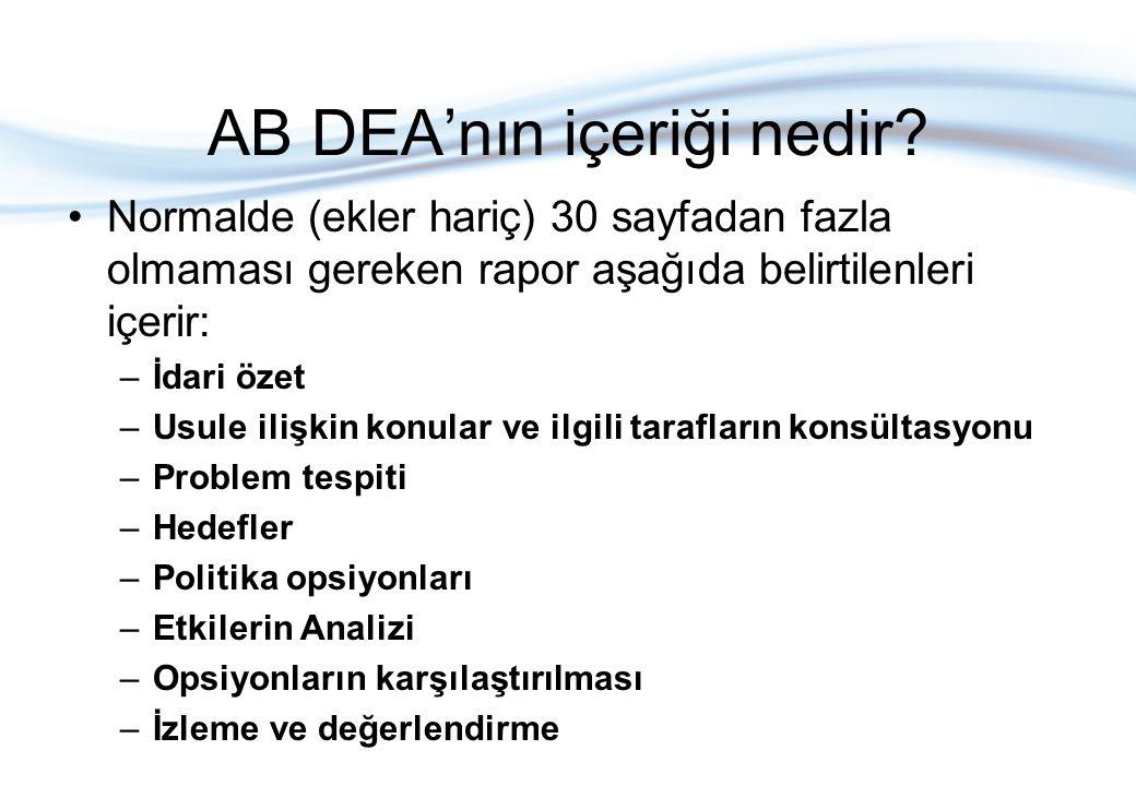 AB DEA'nın içeriği nedir? Normalde (ekler hariç) 30 sayfadan fazla olmaması gereken rapor aşağıda belirtilenleri içerir: –İdari özet –Usule ilişkin ko