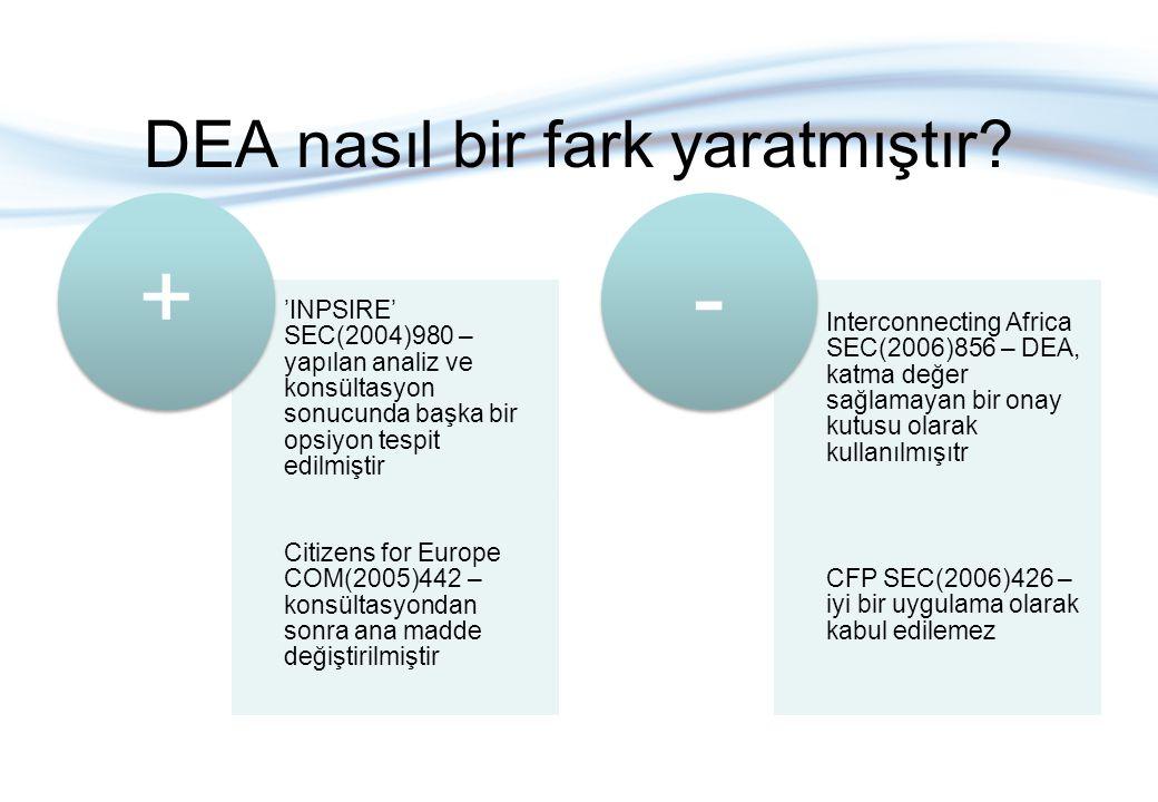 DEA nasıl bir fark yaratmıştır? 'INPSIRE' SEC(2004)980 – yapılan analiz ve konsültasyon sonucunda başka bir opsiyon tespit edilmiştir Citizens for Eur