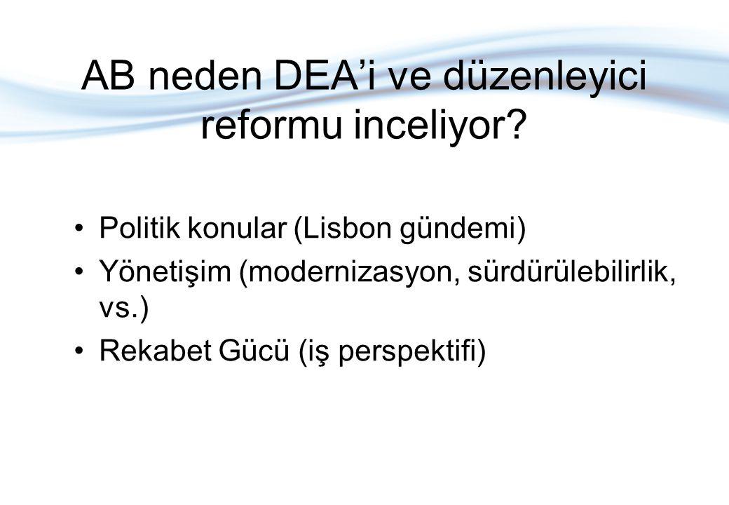 AB neden DEA'i ve düzenleyici reformu inceliyor? Politik konular (Lisbon gündemi) Yönetişim (modernizasyon, sürdürülebilirlik, vs.) Rekabet Gücü (iş p