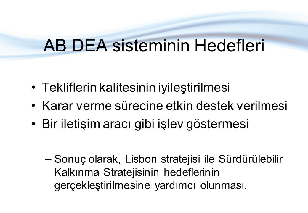 AB DEA sisteminin Hedefleri Tekliflerin kalitesinin iyileştirilmesi Karar verme sürecine etkin destek verilmesi Bir iletişim aracı gibi işlev gösterme