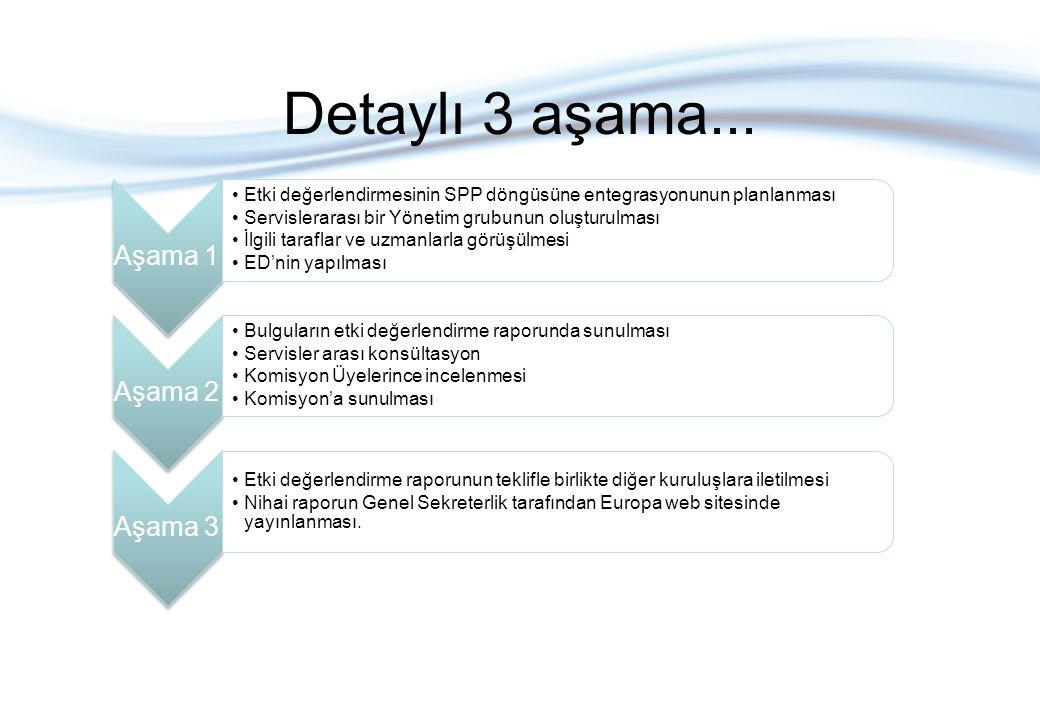 Detaylı 3 aşama... Aşama 1 Etki değerlendirmesinin SPP döngüsüne entegrasyonunun planlanması Servislerarası bir Yönetim grubunun oluşturulması İlgili