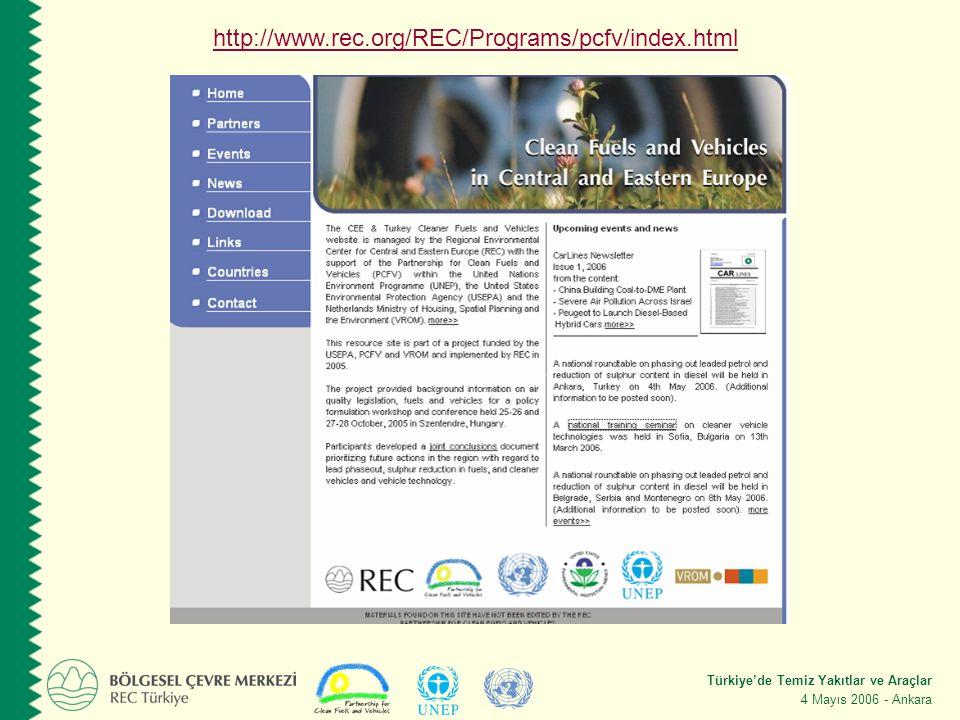 Türkiye'de Temiz Yakıtlar ve Araçlar 4 Mayıs 2006 - Ankara http://www.rec.org/REC/Programs/pcfv/index.html