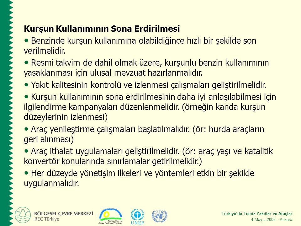 Türkiye'de Temiz Yakıtlar ve Araçlar 4 Mayıs 2006 - Ankara Kurşun Kullanımının Sona Erdirilmesi Benzinde kurşun kullanımına olabildiğince hızlı bir şekilde son verilmelidir.