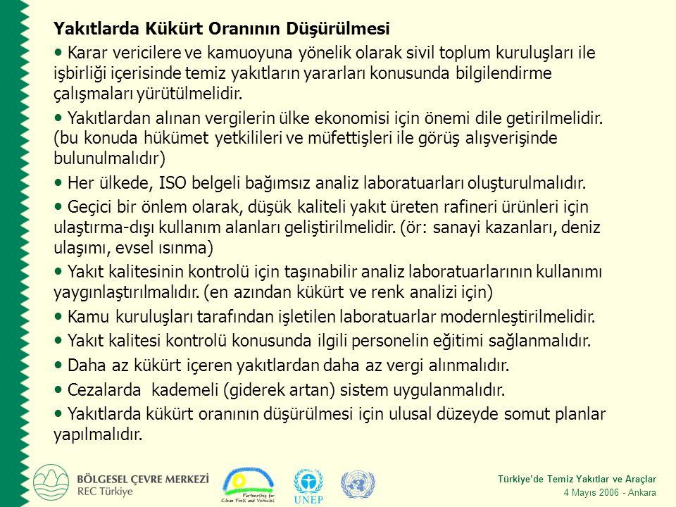 Türkiye'de Temiz Yakıtlar ve Araçlar 4 Mayıs 2006 - Ankara Yakıtlarda Kükürt Oranının Düşürülmesi Karar vericilere ve kamuoyuna yönelik olarak sivil toplum kuruluşları ile işbirliği içerisinde temiz yakıtların yararları konusunda bilgilendirme çalışmaları yürütülmelidir.