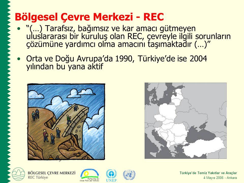 Türkiye'de Temiz Yakıtlar ve Araçlar 4 Mayıs 2006 - Ankara Bölgesel Çevre Merkezi - REC (…) Tarafsız, bağımsız ve kar amacı gütmeyen uluslararası bir kuruluş olan REC, çevreyle ilgili sorunların çözümüne yardımcı olma amacını taşımaktadır (…) Orta ve Doğu Avrupa'da 1990, Türkiye'de ise 2004 yılından bu yana aktif REC Video – Click!