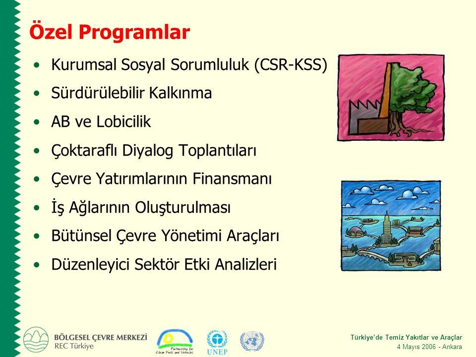 Türkiye'de Temiz Yakıtlar ve Araçlar 4 Mayıs 2006 - Ankara Özel Programlar Kurumsal Sosyal Sorumluluk (CSR-KSS) Sürdürülebilir Kalkınma AB ve Lobicilik Çoktaraflı Diyalog Toplantıları Çevre Yatırımlarının Finansmanı İş Ağlarının Oluşturulması Bütünsel Çevre Yönetimi Araçları Düzenleyici Sektör Etki Analizleri