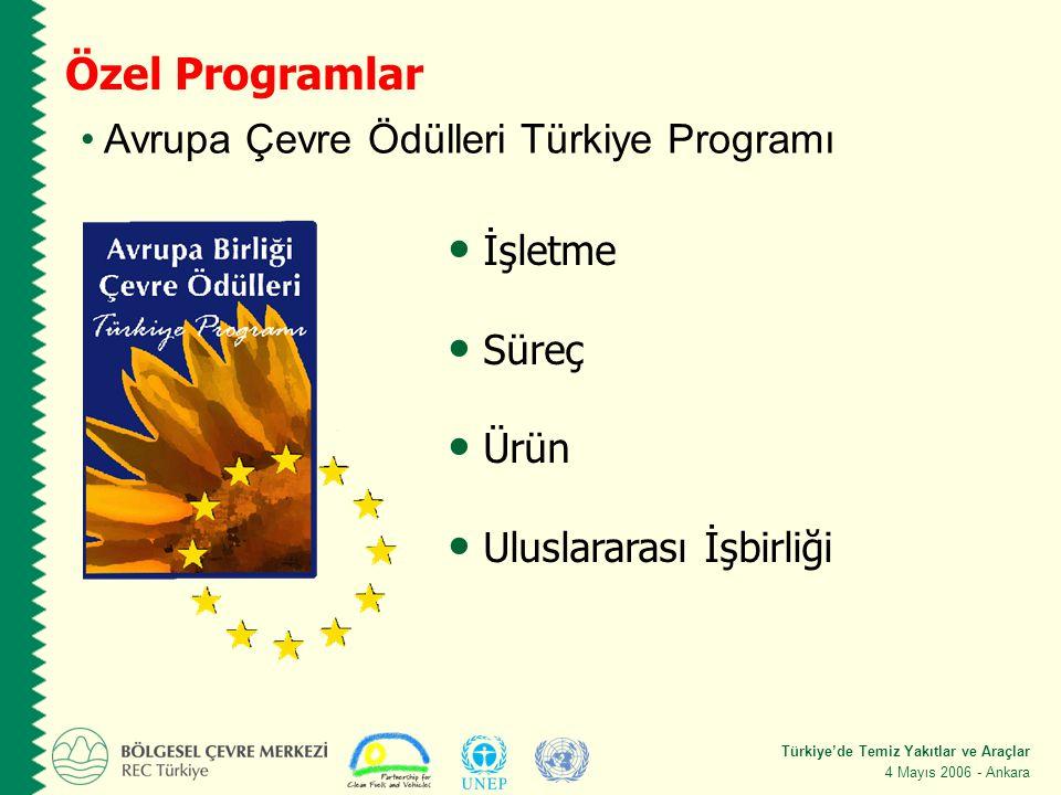 Türkiye'de Temiz Yakıtlar ve Araçlar 4 Mayıs 2006 - Ankara Özel Programlar Avrupa Çevre Ödülleri Türkiye Programı İşletme Süreç Ürün Uluslararası İşbirliği