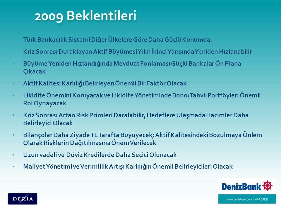 2009 Beklentileri Türk Bankacılık Sistemi Diğer Ülkelere Göre Daha Güçlü Konumda.