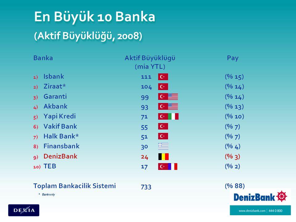 En Büyük 10 Banka (Aktif Büyüklüğü, 2008)