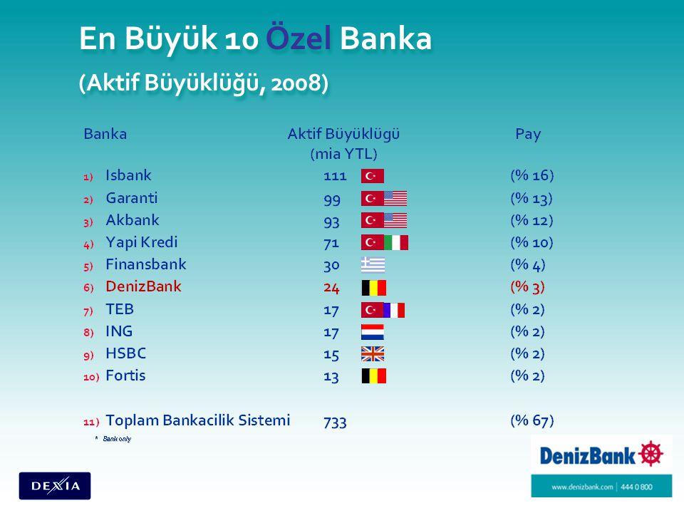 En Büyük 10 Özel Banka (Aktif Büyüklüğü, 2008)