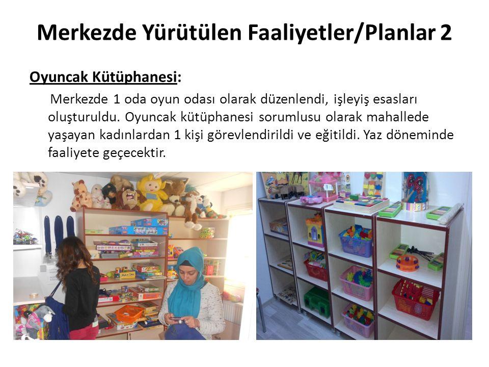Merkezde Yürütülen Faaliyetler/Planlar 2 Oyuncak Kütüphanesi: Merkezde 1 oda oyun odası olarak düzenlendi, işleyiş esasları oluşturuldu. Oyuncak kütüp