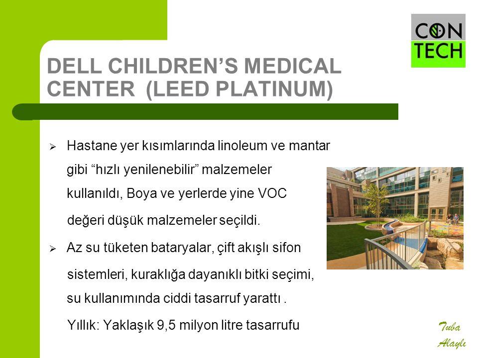 """DELL CHILDREN'S MEDICAL CENTER (LEED PLATINUM)  Hastane yer kısımlarında linoleum ve mantar gibi """"hızlı yenilenebilir"""" malzemeler kullanıldı, Boya ve"""