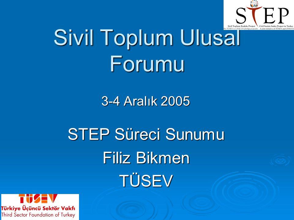 Sivil Toplum Ulusal Forumu 3-4 Aralık 2005 STEP Süreci Sunumu Filiz Bikmen TÜSEV