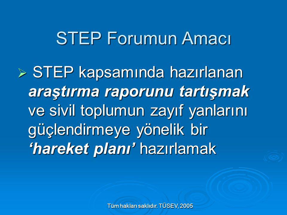 Tüm hakları saklıdır. TÜSEV, 2005 STEP Forumun Amacı  STEP kapsamında hazırlanan araştırma raporunu tartışmak ve sivil toplumun zayıf yanlarını güçle