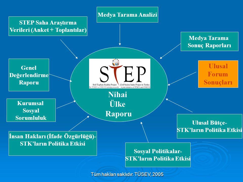 Tüm hakları saklıdır. TÜSEV, 2005 Nihai Ülke Raporu Ulusal Forum Sonuçları Sosyal Politikalar- STK'ların Politika Etkisi Ulusal Bütçe- STK'ların Polit