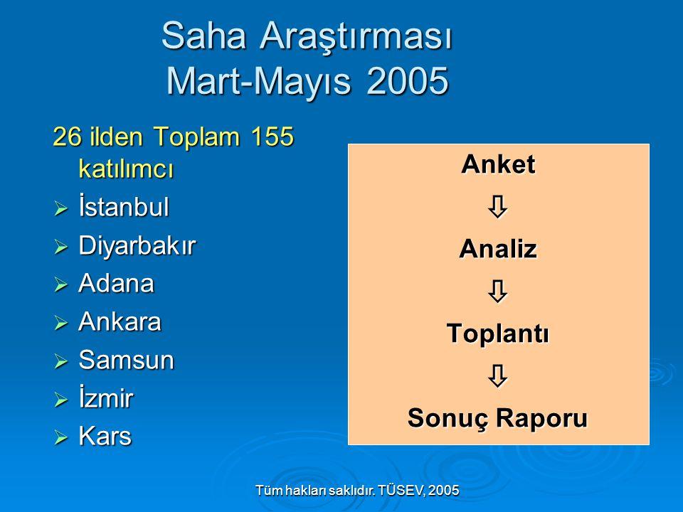 Tüm hakları saklıdır. TÜSEV, 2005 Saha Araştırması Mart-Mayıs 2005 26 ilden Toplam 155 katılımcı  İstanbul  Diyarbakır  Adana  Ankara  Samsun  İ