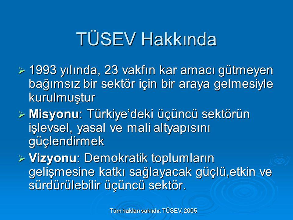 Tüm hakları saklıdır. TÜSEV, 2005 TÜSEV Hakkında  1993 yılında, 23 vakfın kar amacı gütmeyen bağımsız bir sektör için bir araya gelmesiyle kurulmuştu