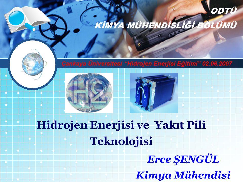 """LOGO Hidrojen Enerjisi ve Yakıt Pili Teknolojisi Erce ŞENGÜL Kimya Mühendisi ODTÜ KİMYA MÜHENDİSLİĞİ BÖLÜMÜ Çankaya Üniversitesi """"Hidrojen Enerjisi Eğ"""