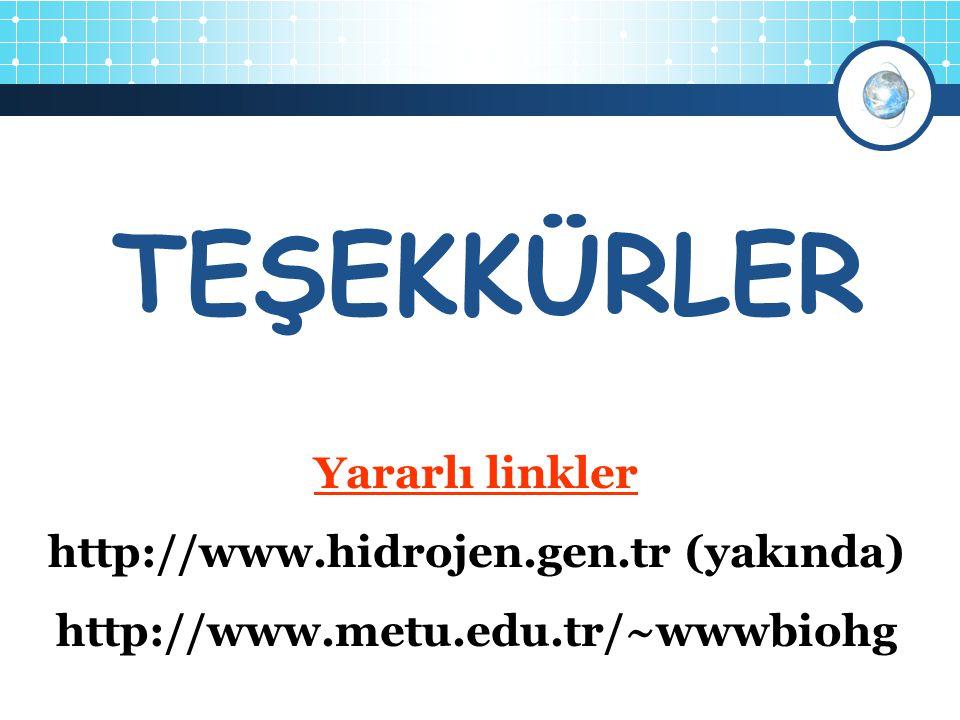 4 Yararlı linkler http://www.hidrojen.gen.tr (yakında) http://www.metu.edu.tr/~wwwbiohg TEŞEKKÜRLER