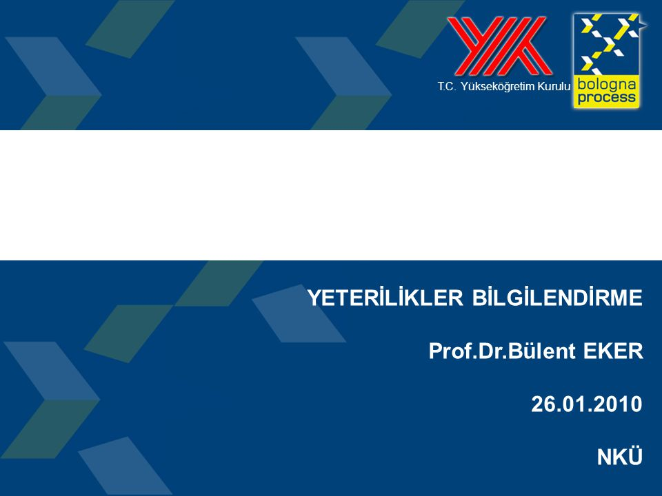 1 T.C. Yükseköğretim Kurulu YETERİLİKLER BİLGİLENDİRME Prof.Dr.Bülent EKER 26.01.2010 NKÜ PROGRAM YETERLİLİKLERİ BİLGİLENDİRME