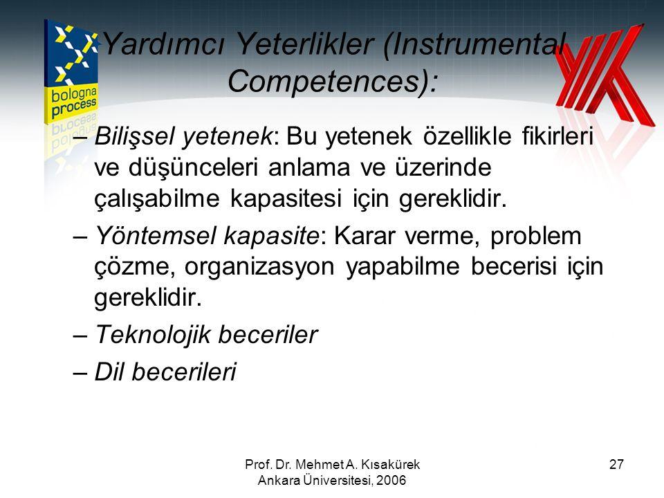 Prof. Dr. Mehmet A. Kısakürek Ankara Üniversitesi, 2006 27 Yardımcı Yeterlikler (Instrumental Competences): –Bilişsel yetenek: Bu yetenek özellikle fi