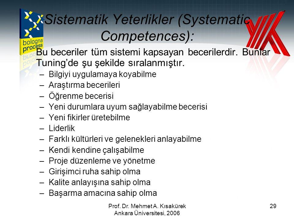 Prof. Dr. Mehmet A. Kısakürek Ankara Üniversitesi, 2006 29 Bu beceriler tüm sistemi kapsayan becerilerdir. Bunlar Tuning'de şu şekilde sıralanmıştır.
