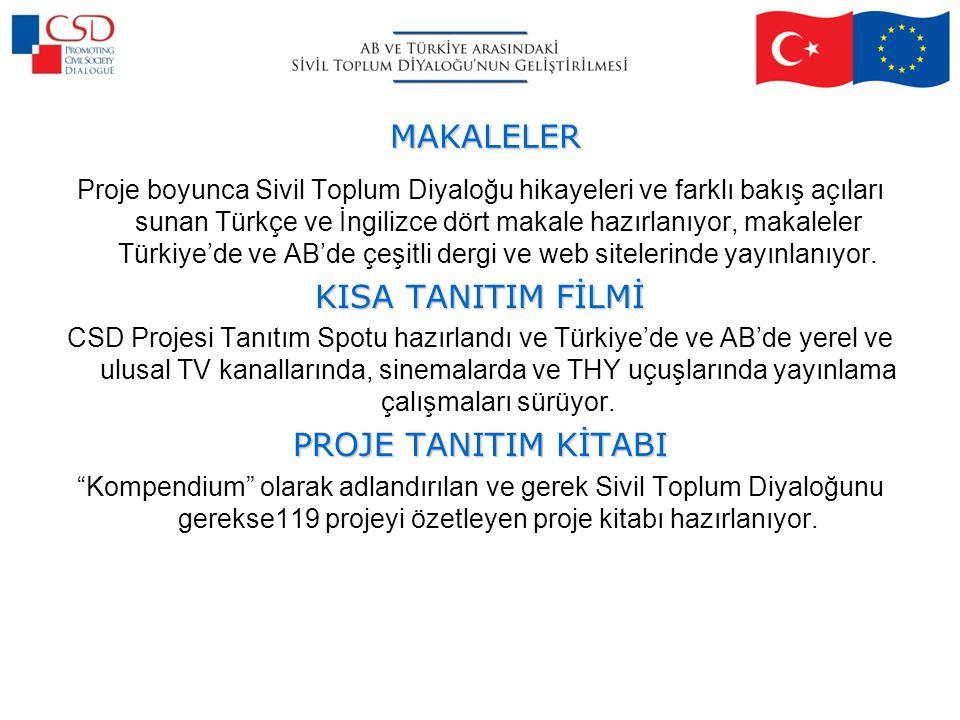 MAKALELER Proje boyunca Sivil Toplum Diyaloğu hikayeleri ve farklı bakış açıları sunan Türkçe ve İngilizce dört makale hazırlanıyor, makaleler Türkiye'de ve AB'de çeşitli dergi ve web sitelerinde yayınlanıyor.