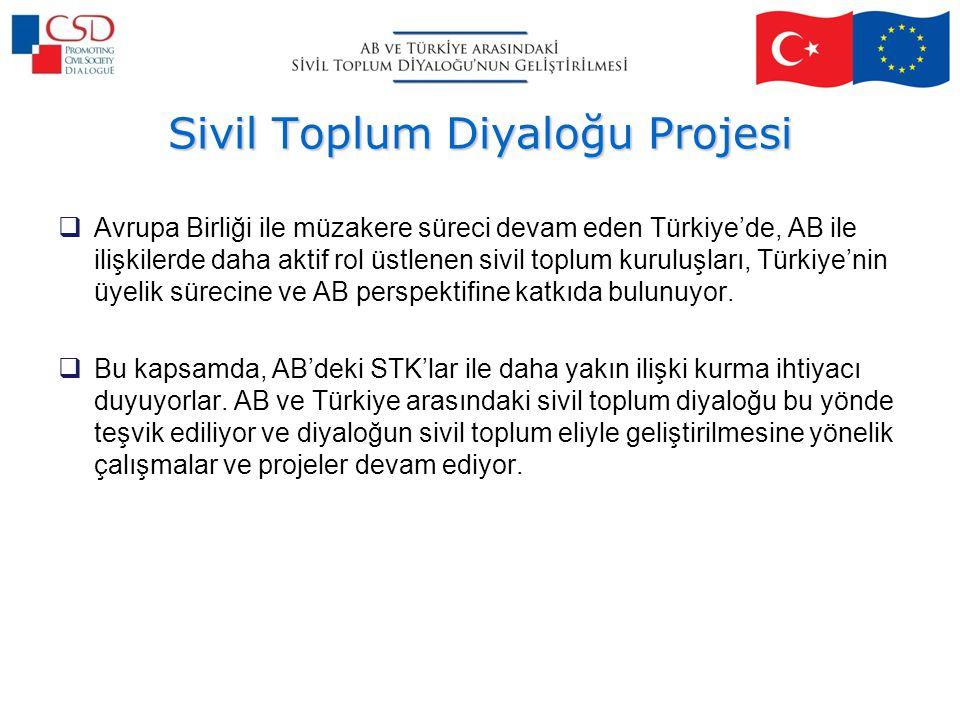 Sivil Toplum Diyaloğu Projesi  Avrupa Birliği ile müzakere süreci devam eden Türkiye'de, AB ile ilişkilerde daha aktif rol üstlenen sivil toplum kuruluşları, Türkiye'nin üyelik sürecine ve AB perspektifine katkıda bulunuyor.