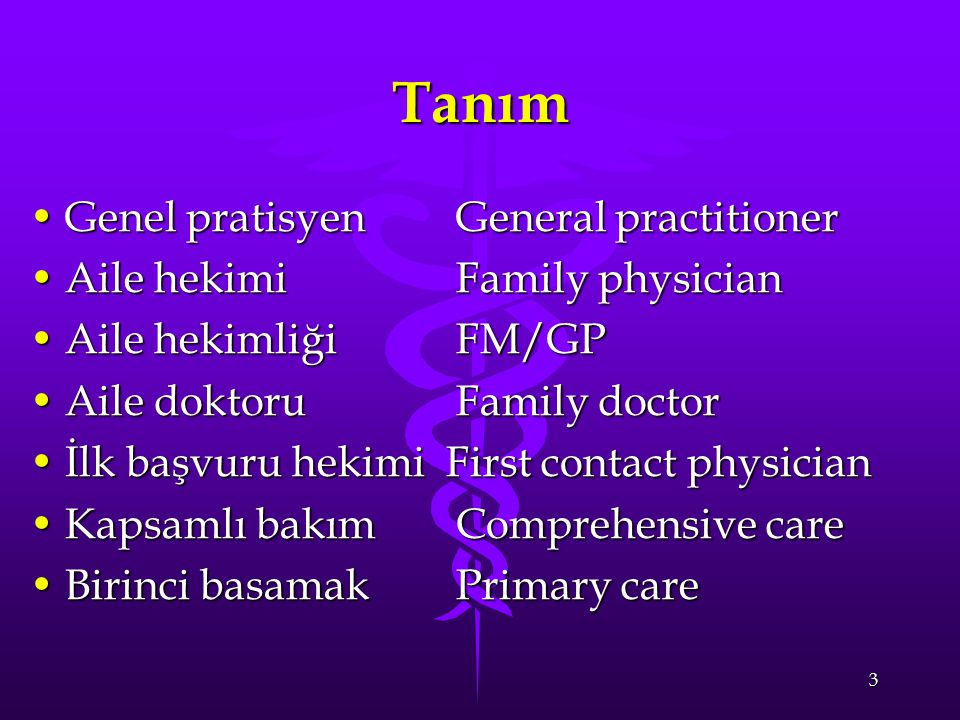 3 Tanım Genel pratisyen General practitionerGenel pratisyen General practitioner Aile hekimi Family physicianAile hekimi Family physician Aile hekimliği FM/GPAile hekimliği FM/GP Aile doktoru Family doctorAile doktoru Family doctor İlk başvuru hekimi First contact physicianİlk başvuru hekimi First contact physician Kapsamlı bakım Comprehensive careKapsamlı bakım Comprehensive care Birinci basamak Primary careBirinci basamak Primary care